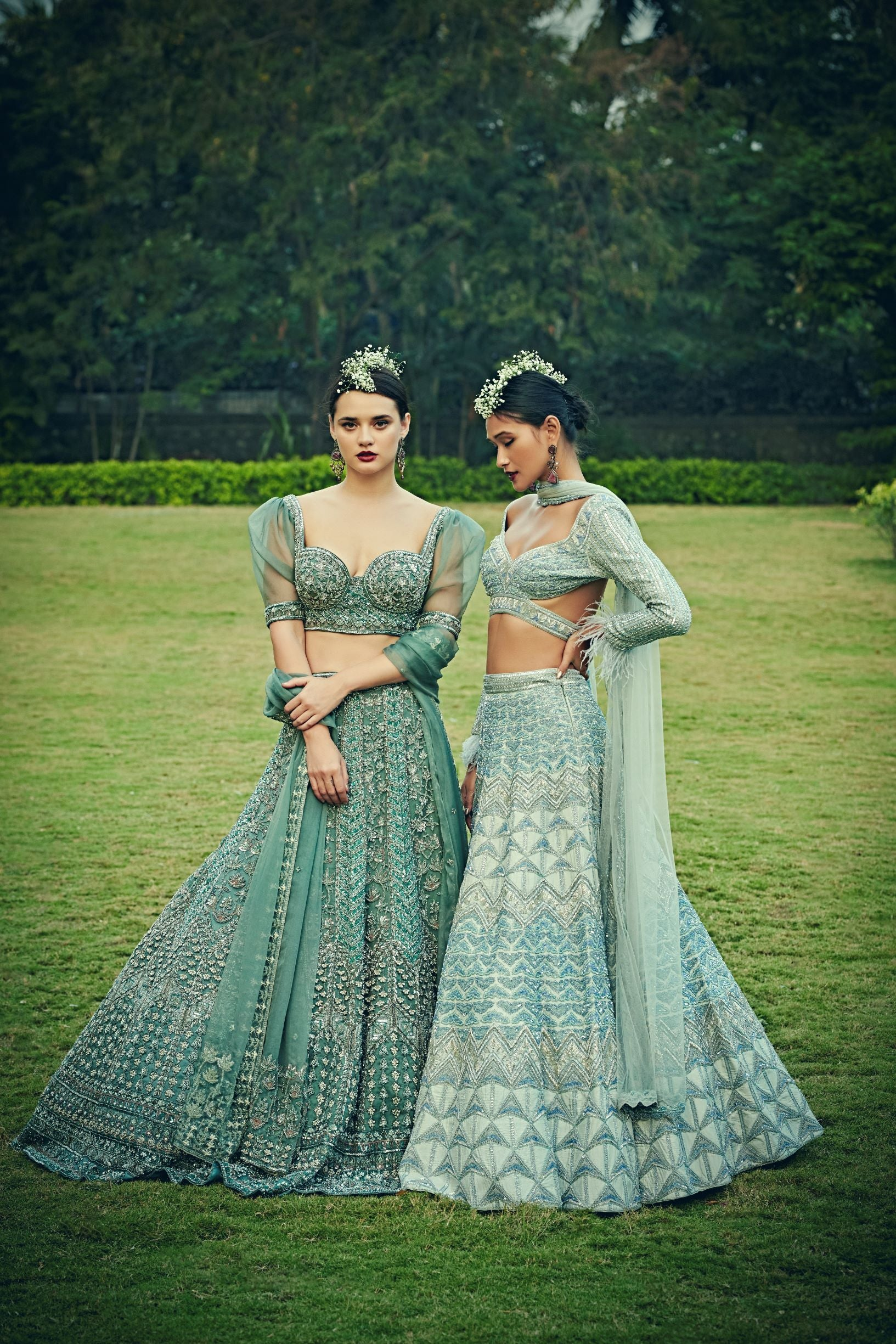 Arctic Blue Colour Wedding Lehenga