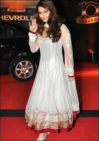 Aishwarya Rai in White color Anarkali Suit Online