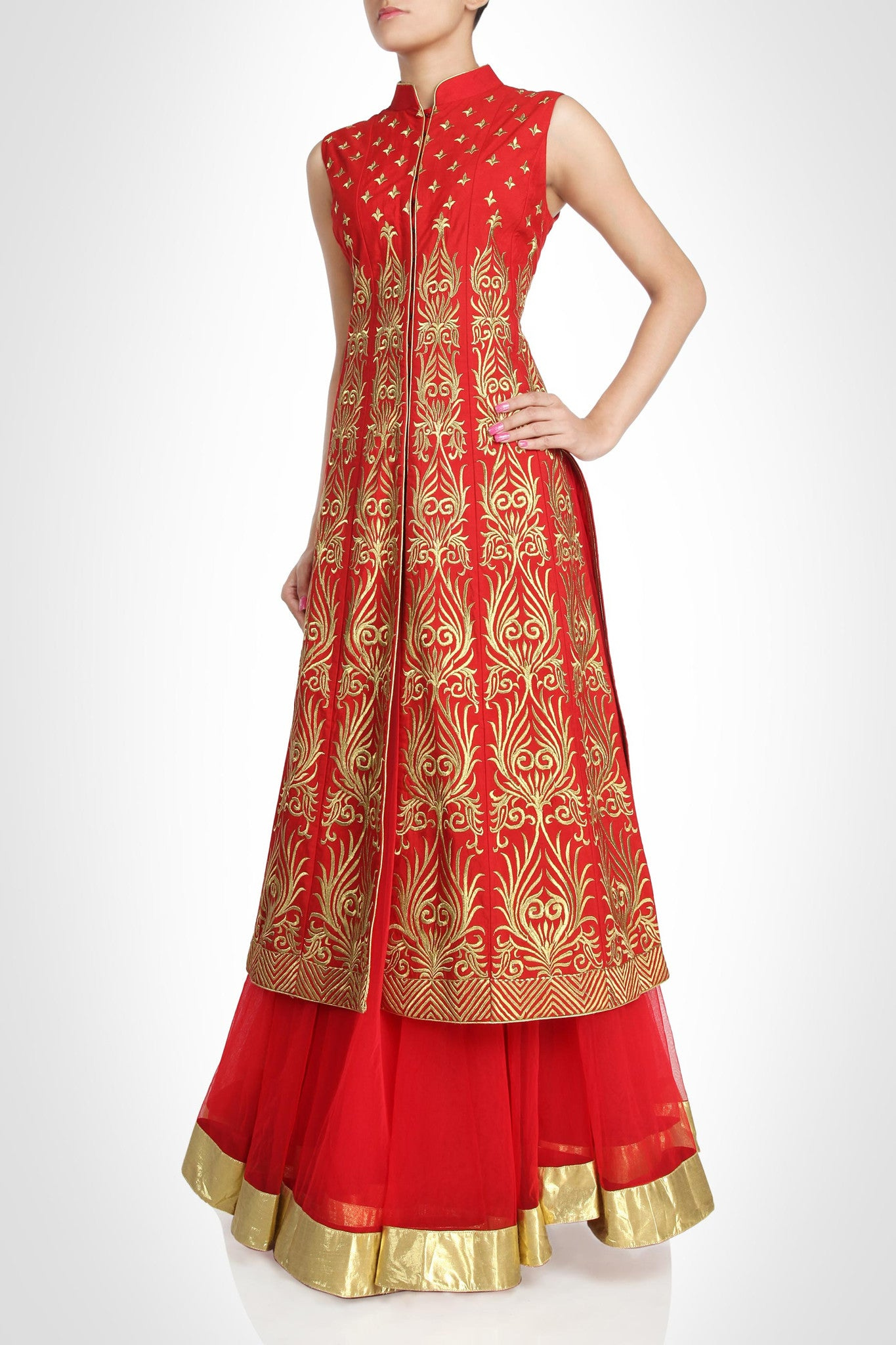 Red color Long Jacket lehenga