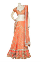 bridal wear lehenga in peach color