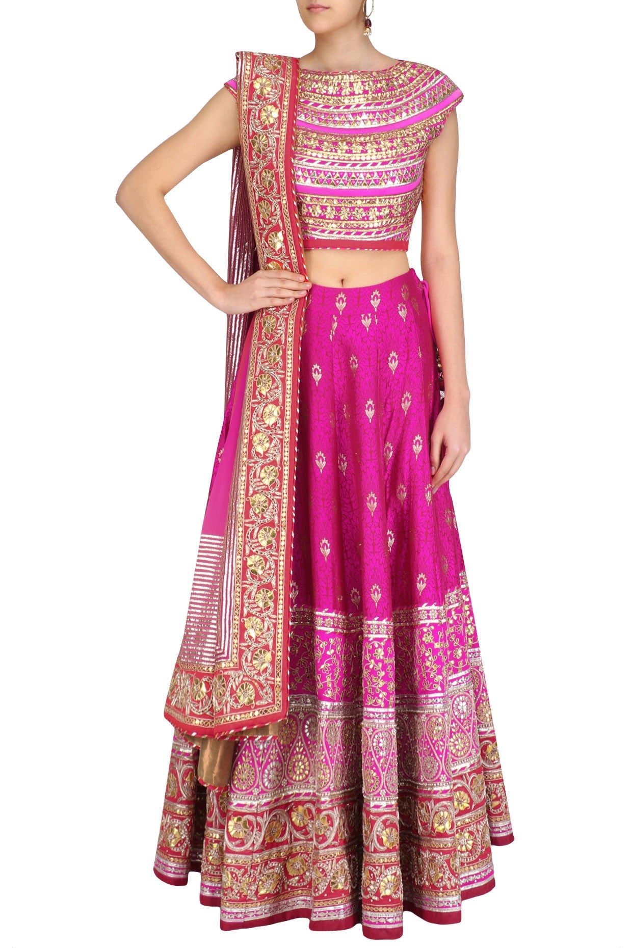 Bright Pink Party Lehenga Choli in Banarasi Silk Brocade