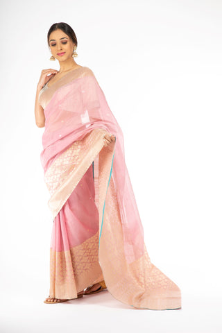 Beauteous Rose Quartz Handloom Silk Saree from Panache Haute Couture