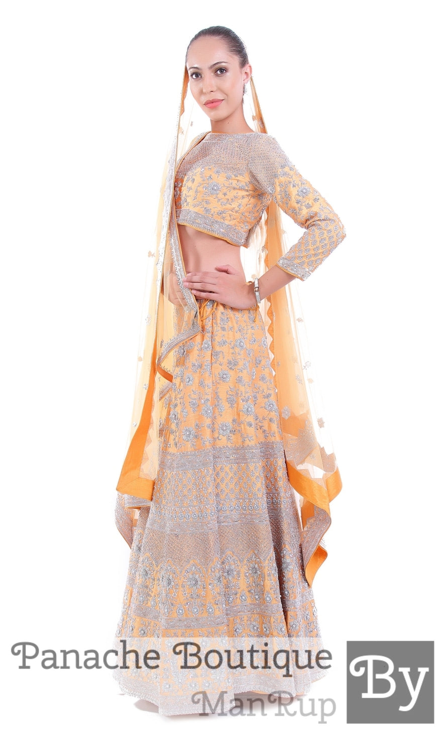 Beige Colour Wedding Lehenga In Zardozi Embroidery