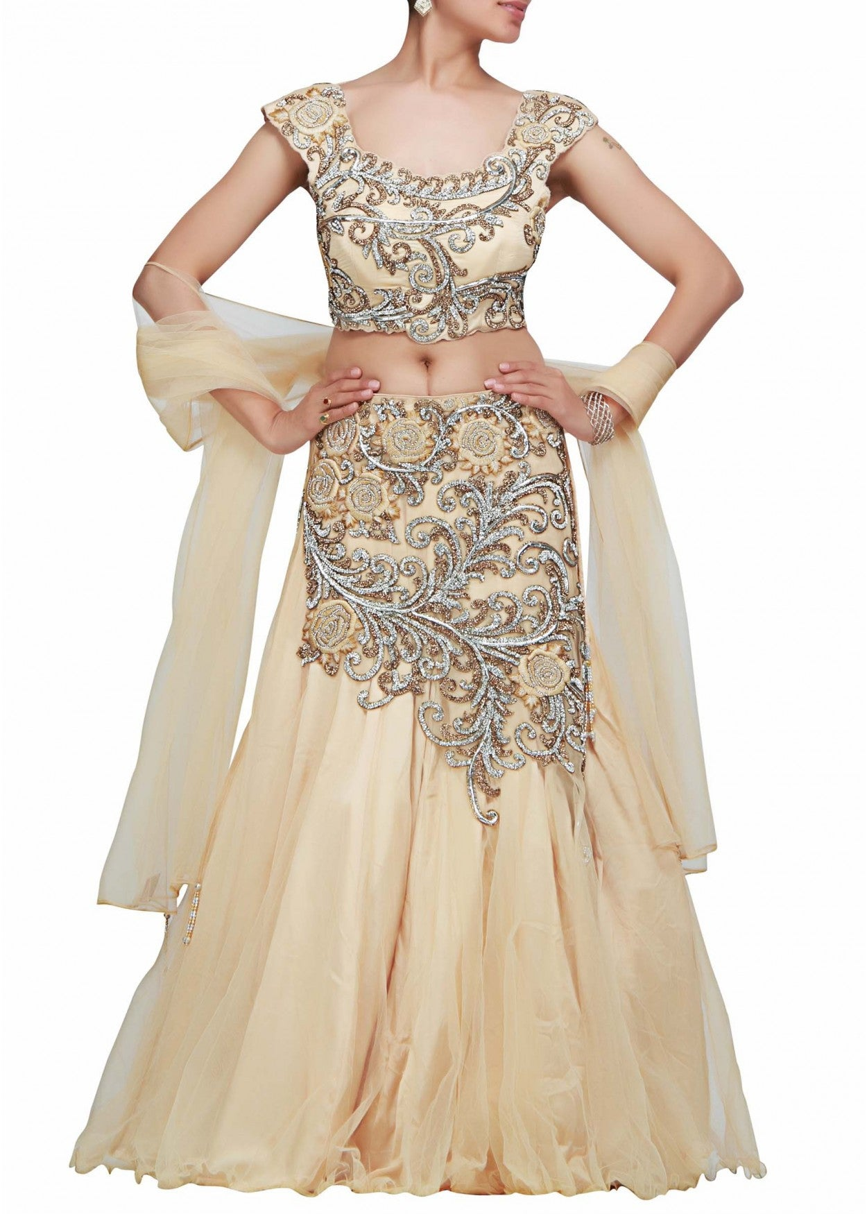 Beige color Beautiful lehenga choli