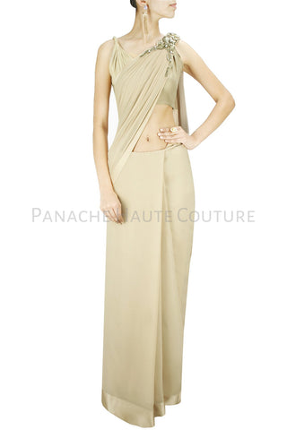 Beige Color Designer Saree Gown Online In Crepe Fabric