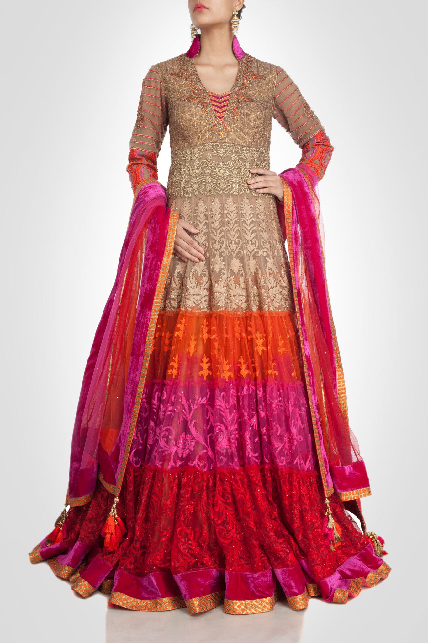 Beige color flaired anarkali suit type lehenga