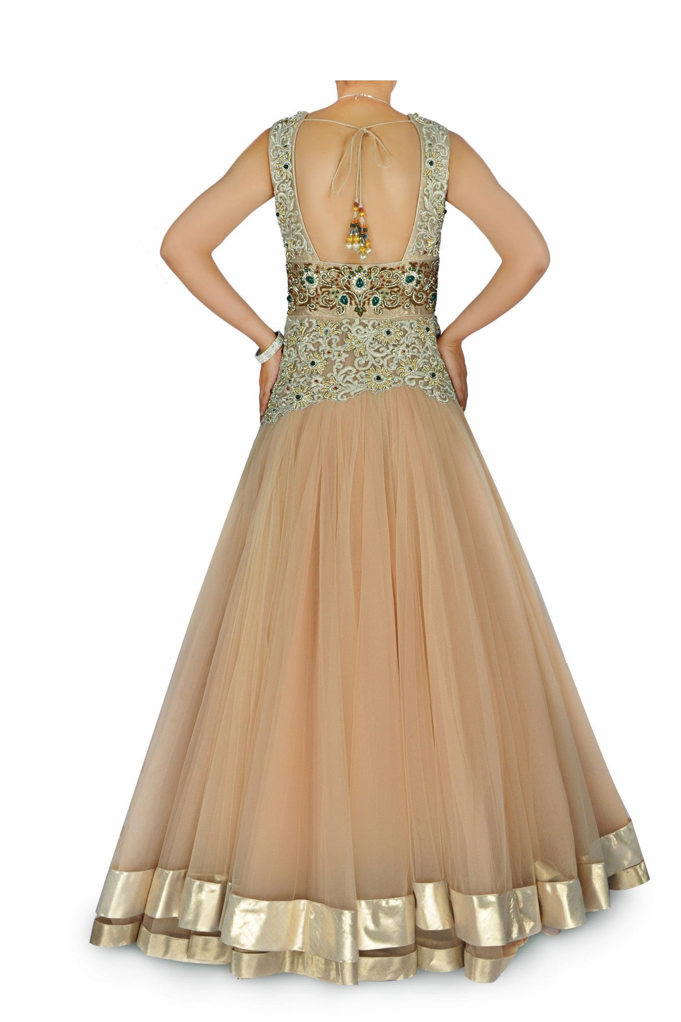 Beige colour Indo Western Bridal gown