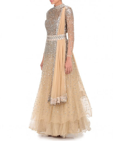 Beige Color Indo Western Gown