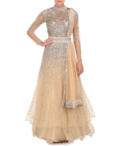 Beige Color Indo Western Gown in Tulle Net Fabric – Panache Haute ...