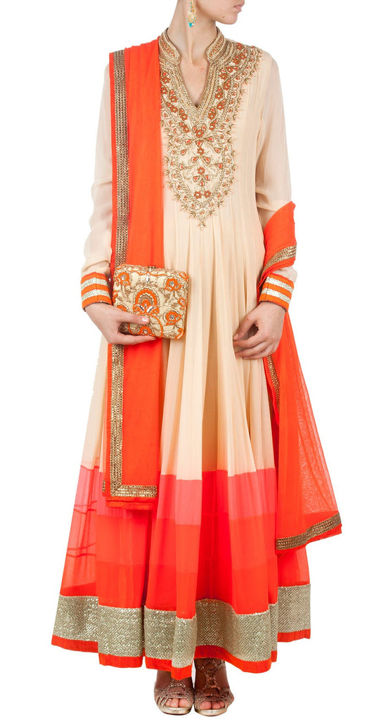 Beige color floor length anarkali with orange dupatta