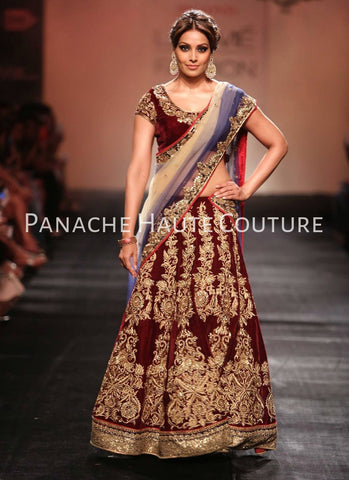 Bipasha Basu in Maroon Color Bridal Lehenga Choli Online