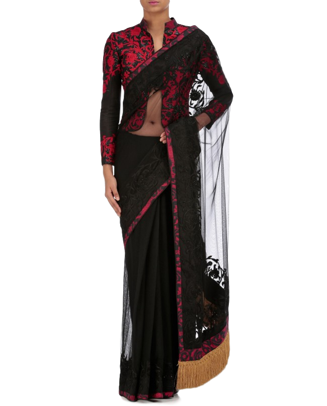 Black color saree with thread embroidery