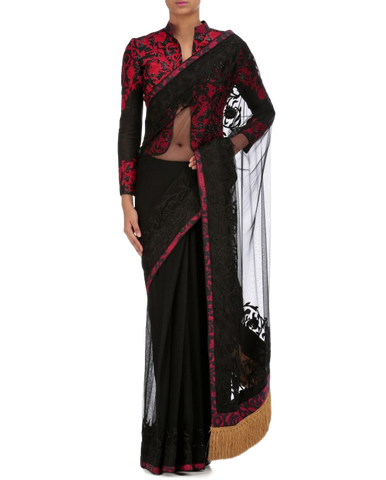 Black color party wear saree with thread embroidery