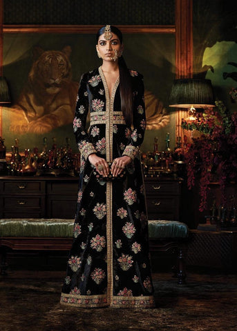 Black Color Embroidered Jacket Kaftan