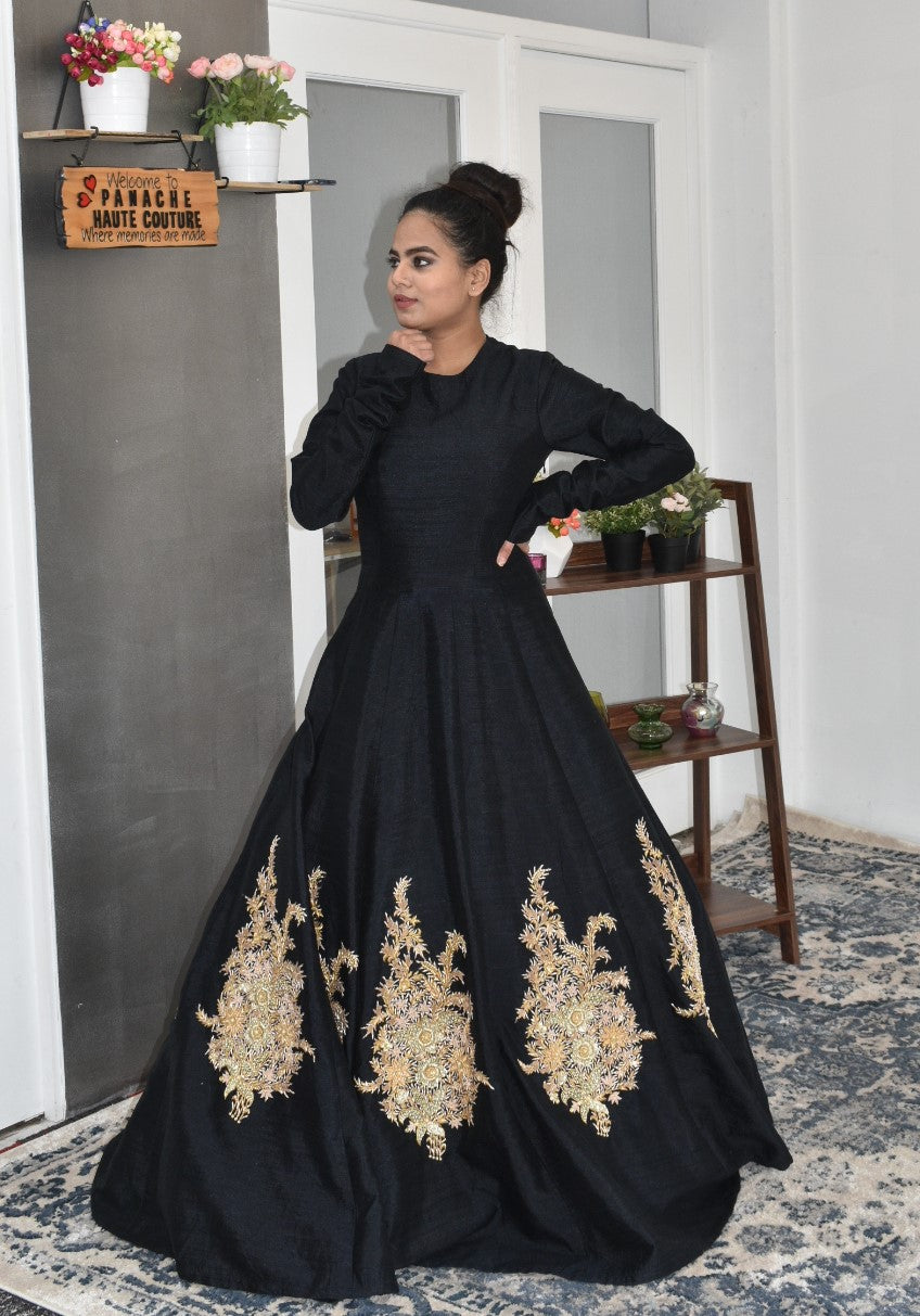 Black Color Gown in Raw Silk with Zardozi Embroidery