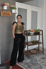 Stunning black color trouser with a banarasi silk blouse