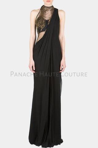 Black Color Designer Saree Gown Online