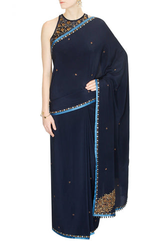 Navy Blue Colour Saree by JJ Valaya