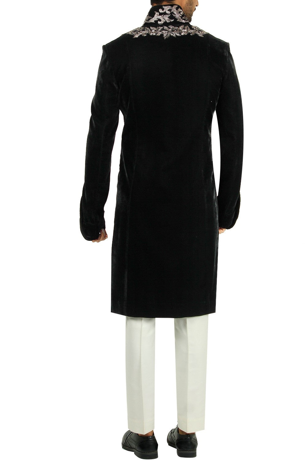 Black Color Sherwani Set in Velvet Silk 1