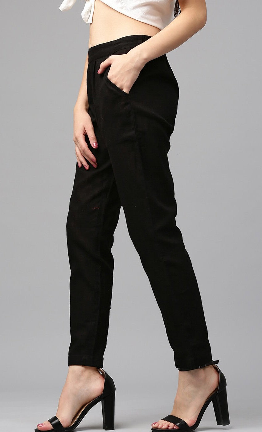 Slub Cotton Black Color Pants