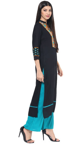 Rayon Black Colour Kurta with Turquoise Palazzo