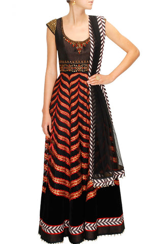 Black and Golden Anarkali Suits
