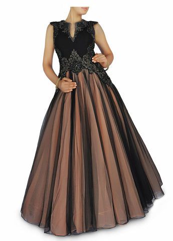 Black colour Indo Western Bridal Gown