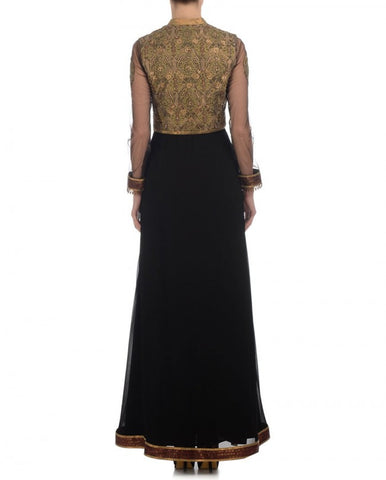 Black color long anarkali suit having golden zari work on yoke