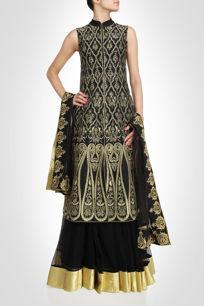 Black color long jacket lehenga