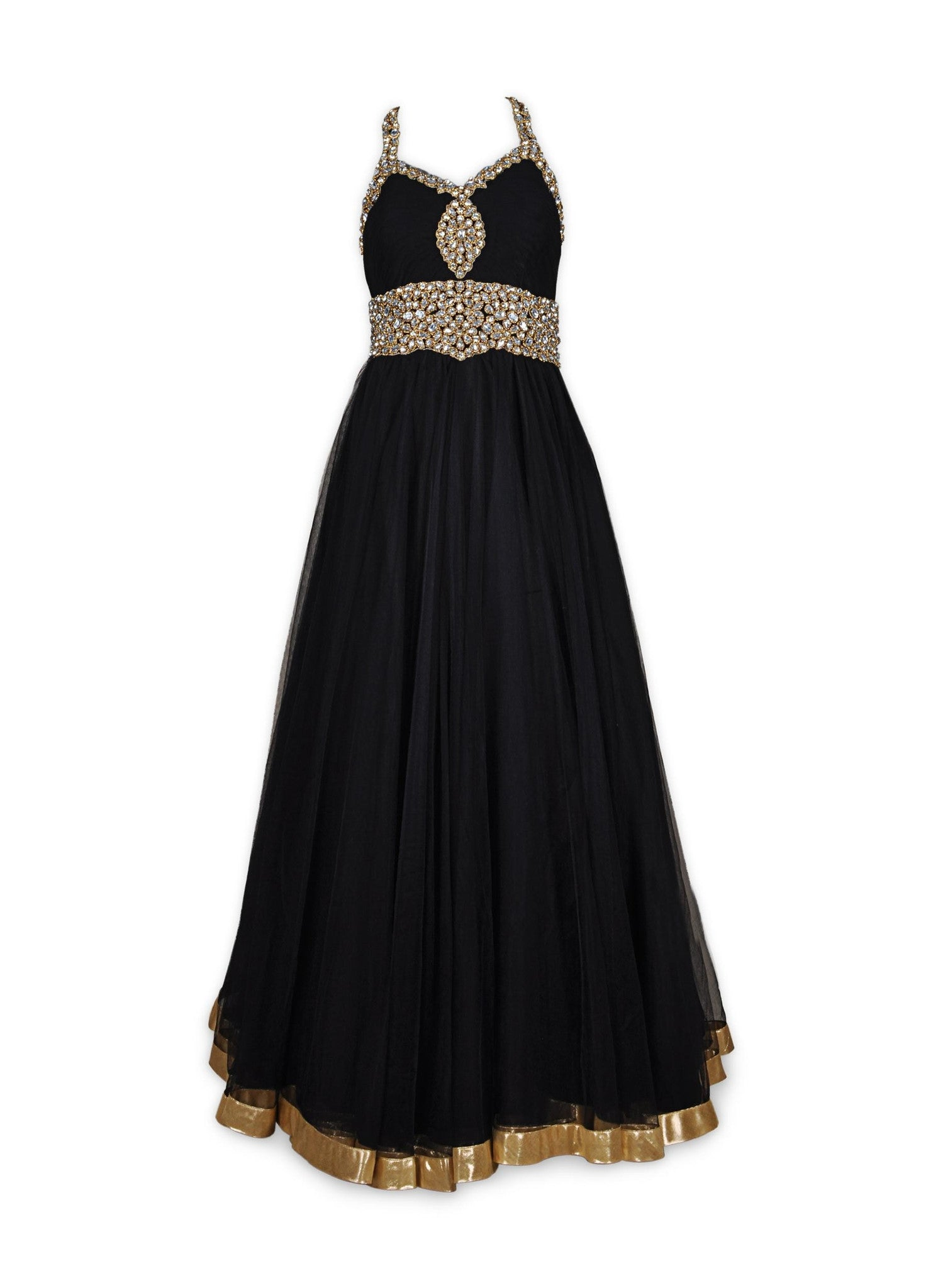 Black color Indo-Western Net Gown