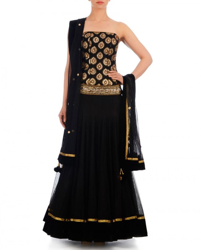 Black color lehenga with brocade choli