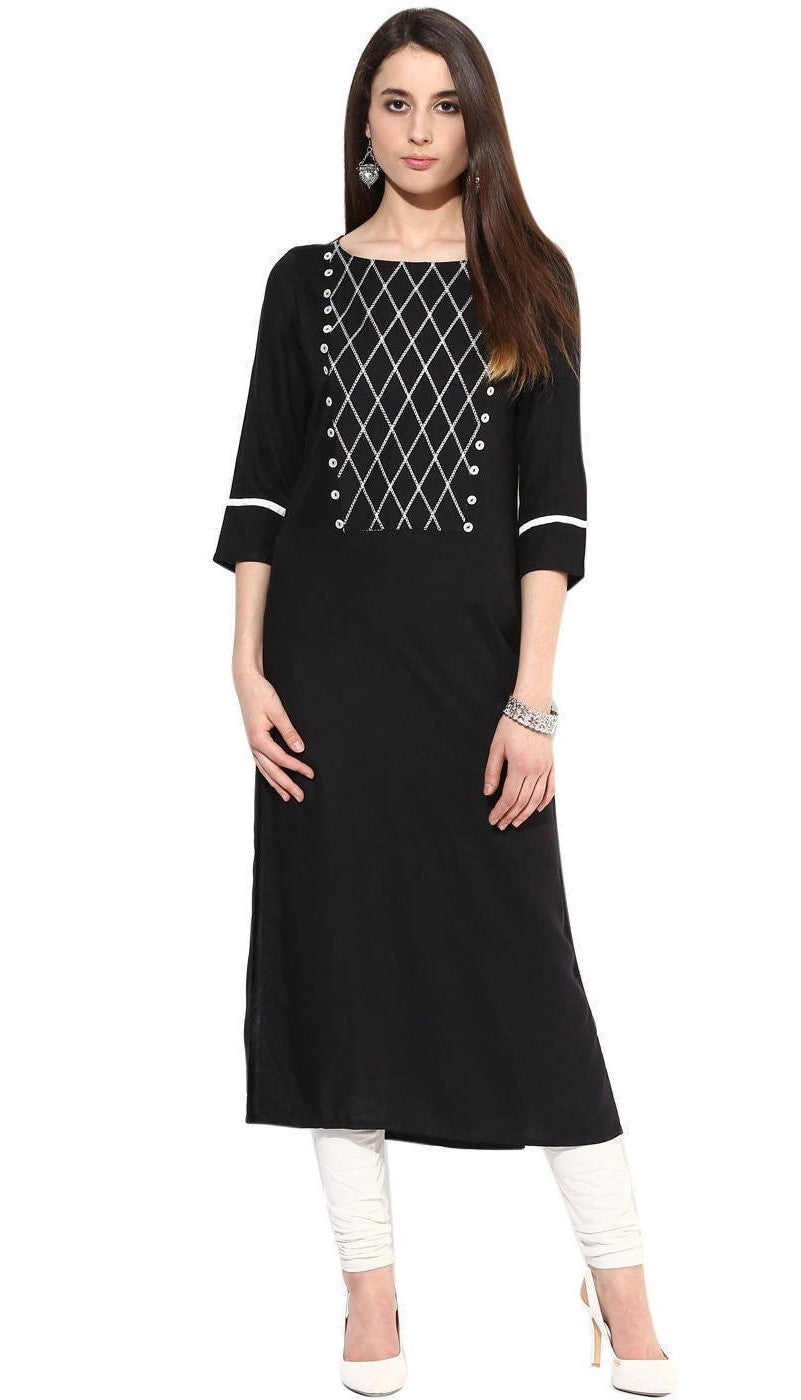 Black Color Jaipur Kurta in Rayon Fabric