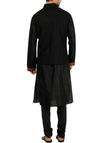 Black Color Raw Silk Bandi Jacket
