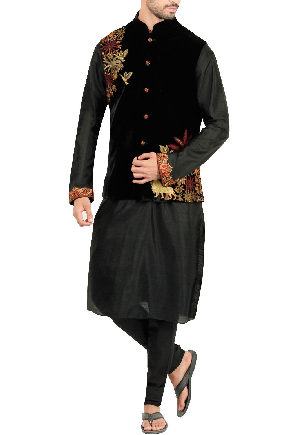 Black Color Velvet Bandi Jacket