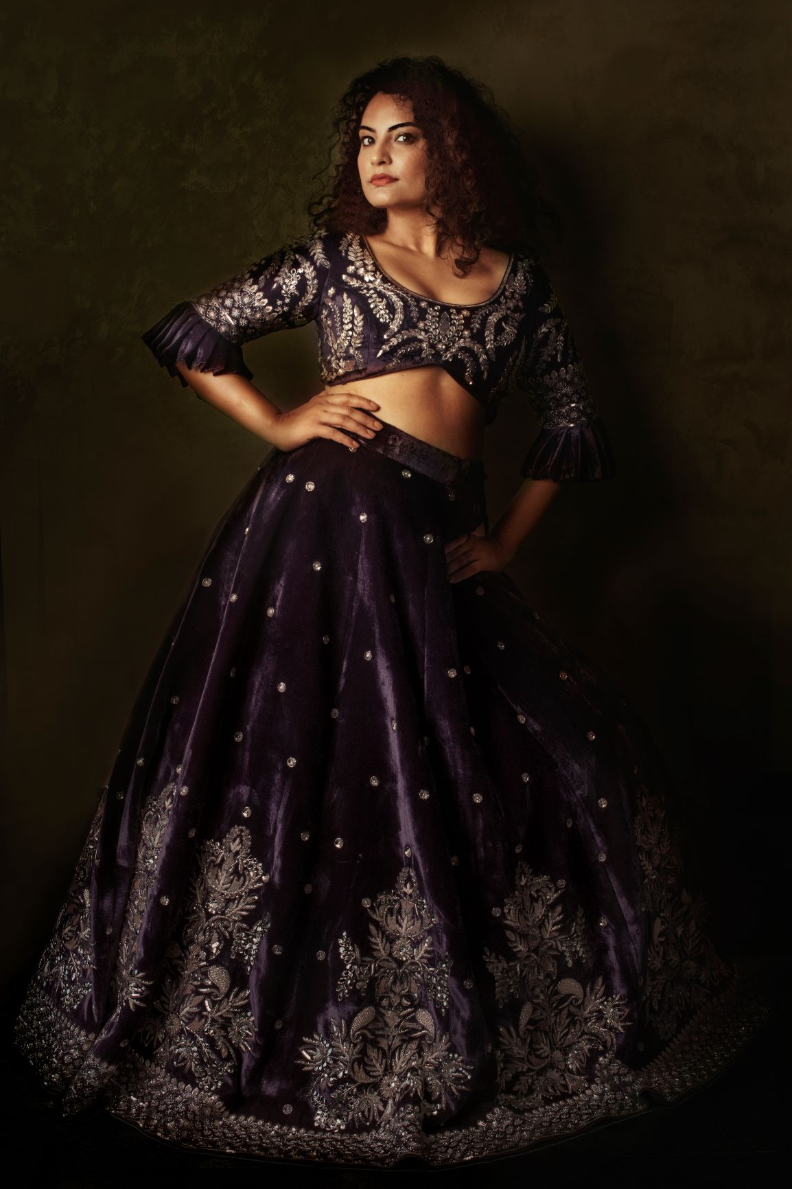 Blackberry Colour Silk Velvet Wedding Lehenga Set