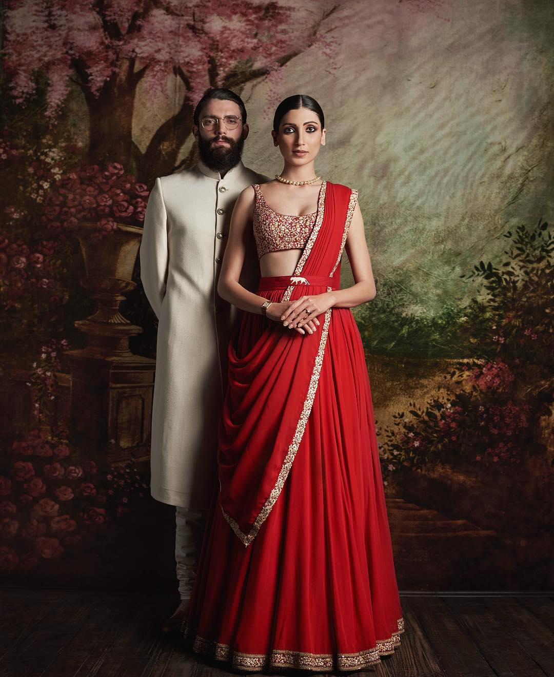 Red Color Drapped Lehenga in Crepe Silk
