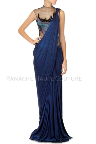 Blue Color Designer Saree Gown Online