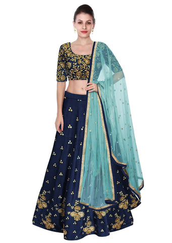 Navy Blue Color Lehenga Choli with Light Blue Dupatta