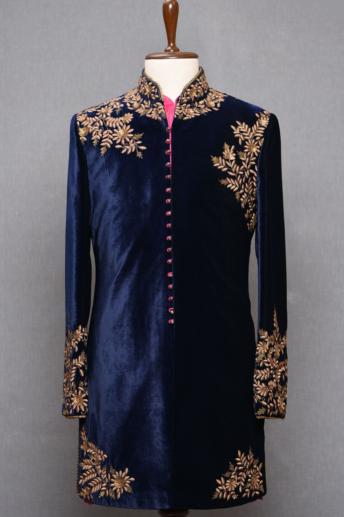 Blue Color Hand Embroidered Indo Western Jacket