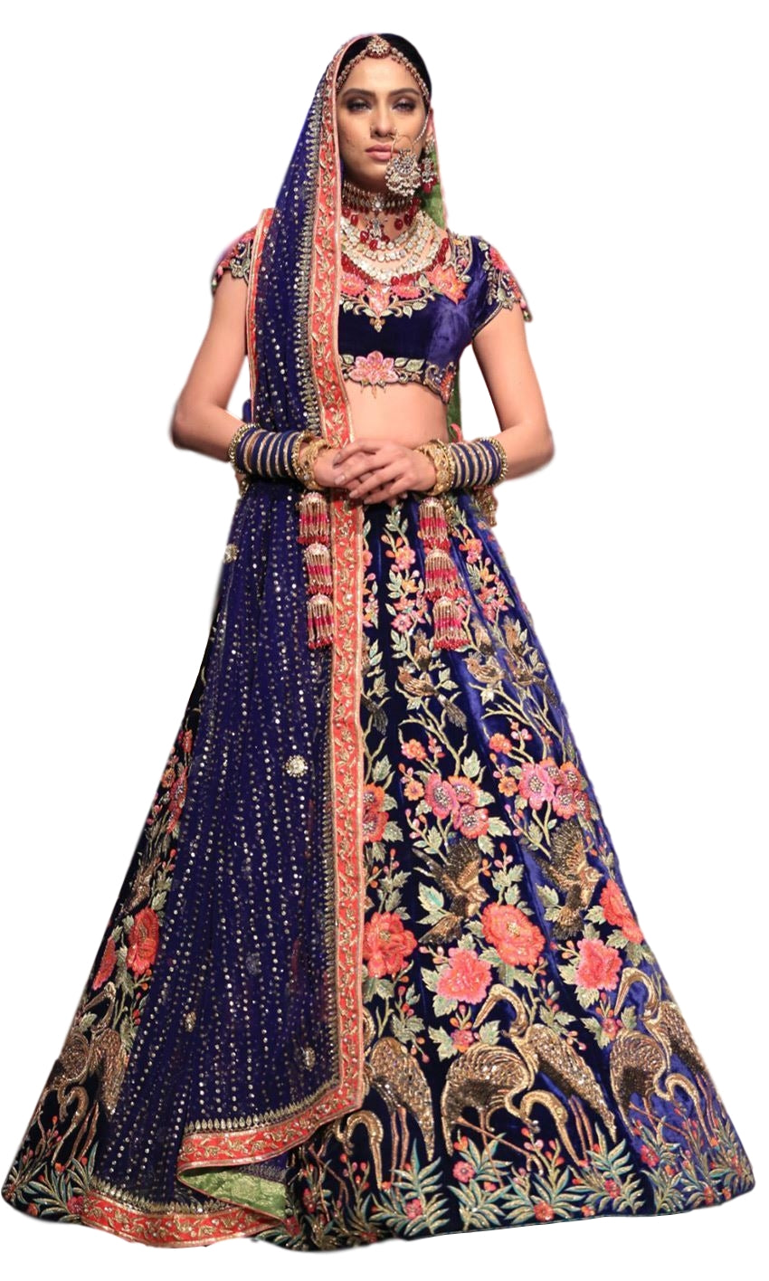 Blue Color Wedding Lehenga in Floral Embroidery