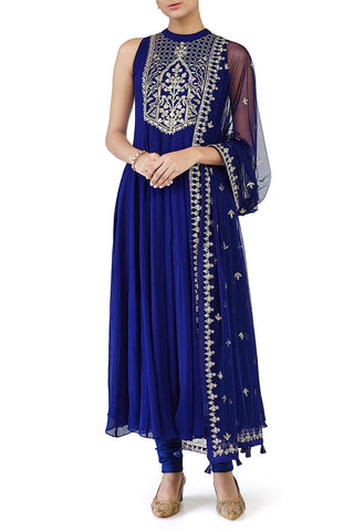 Blue Anarkali with Gotta Patti Embroidery