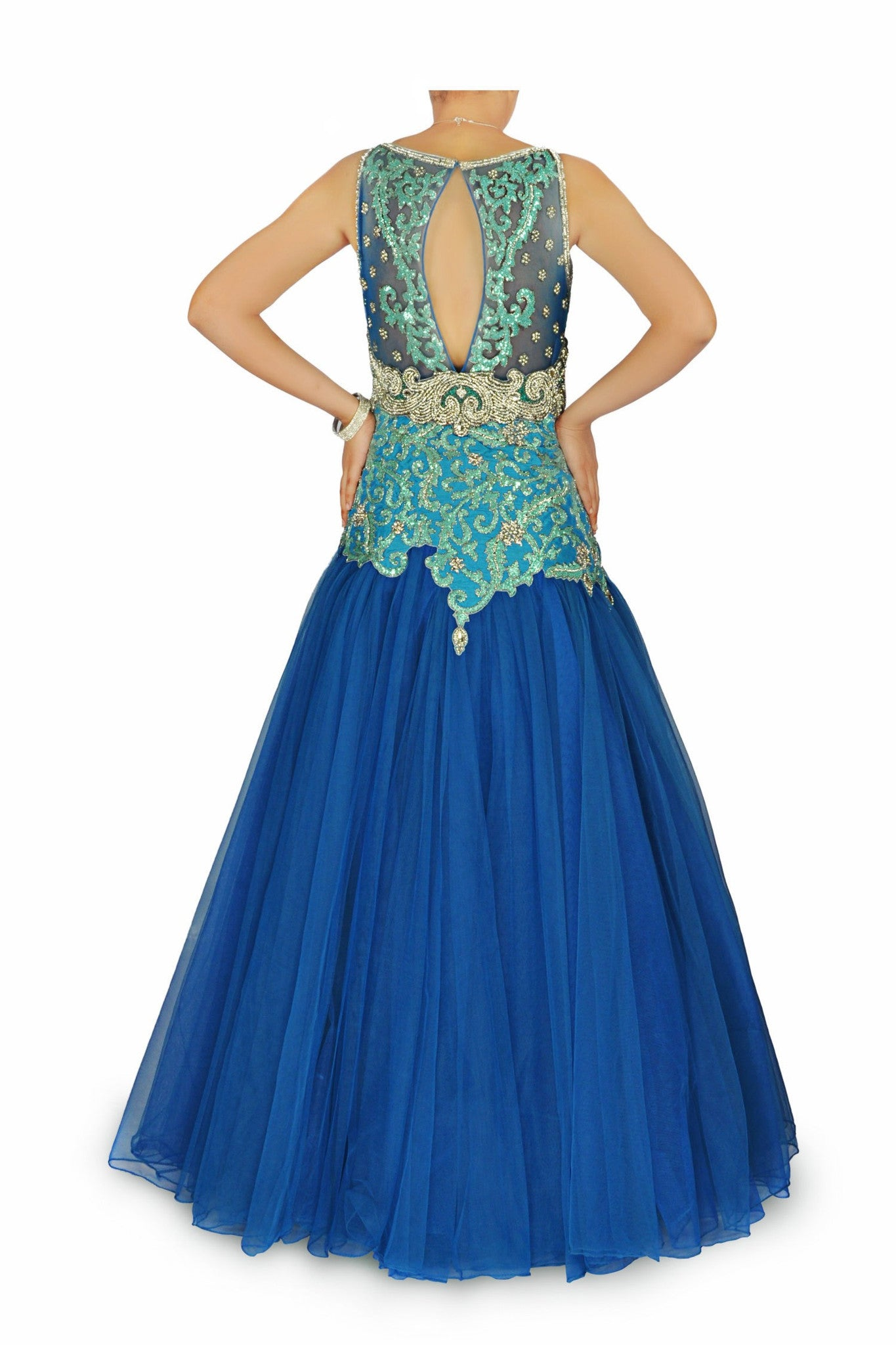 Blue colour Indo Western Bridal Gown