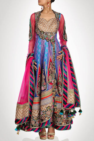 Blue and purple long anarkali suit available online