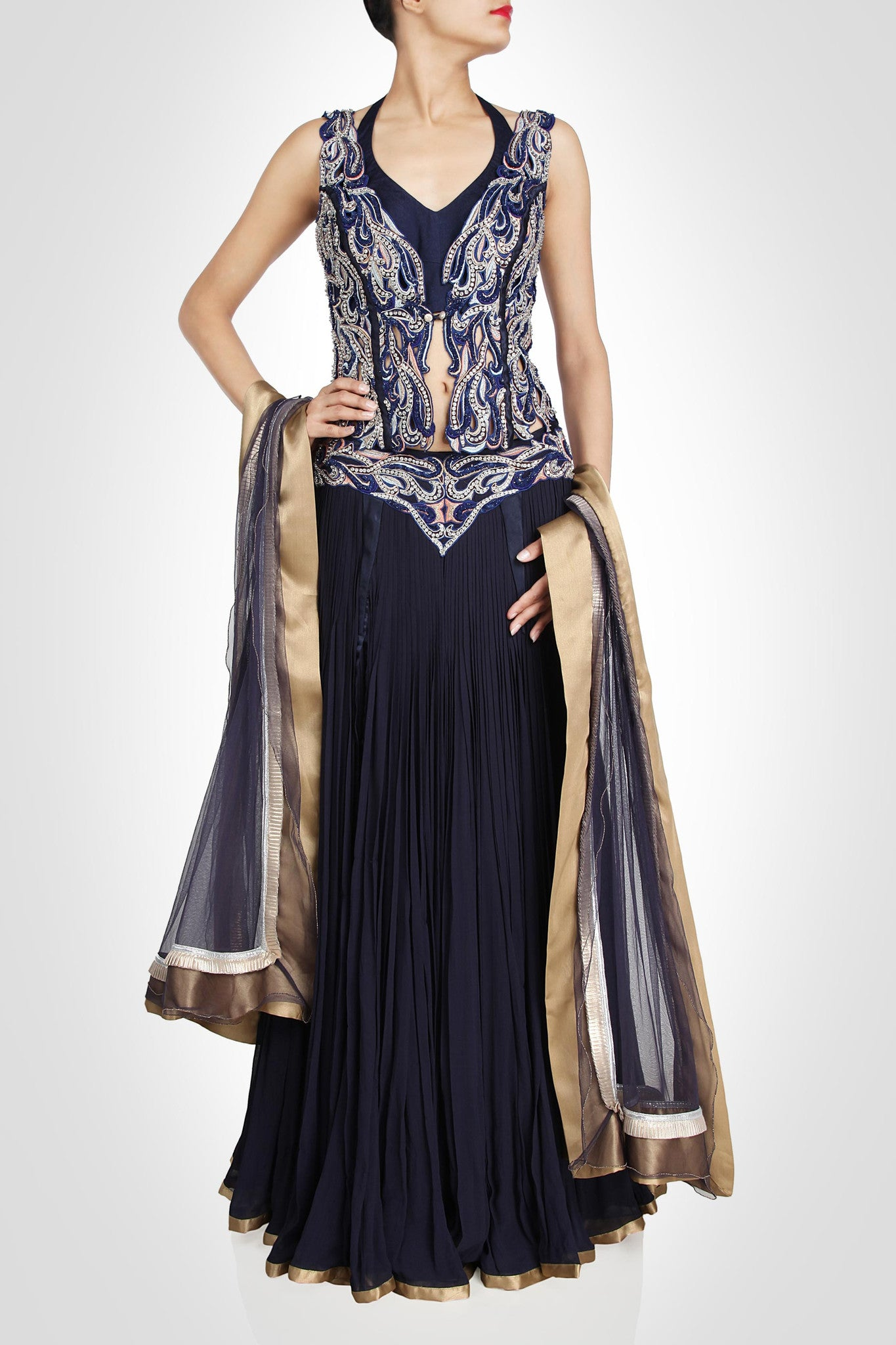 Blue color flaired lehenga