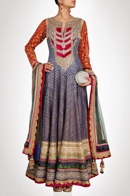 Royal Collection floor length anarkali suit in blue color