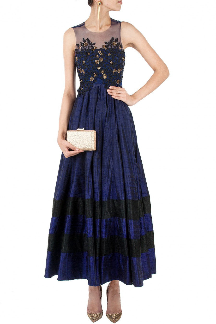 Navy blue color long anarkali suit