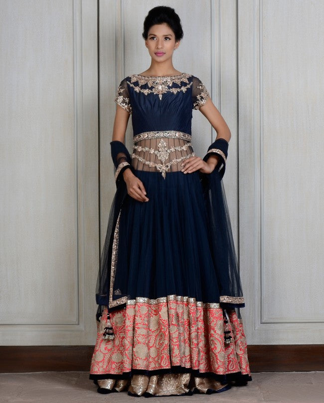 Blue color long jacket lehenga choli