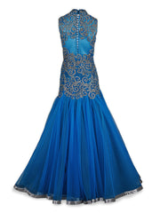 Deep Blue Net Gown