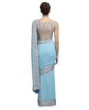 Light blue color designer saree with silver ssequin work