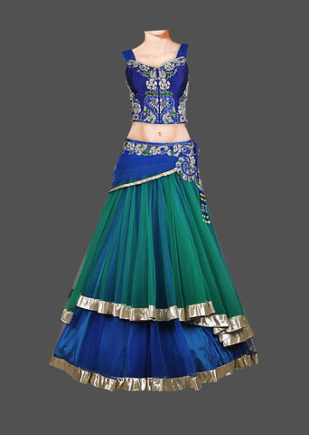 Blue and green lehenga choli